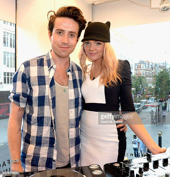 DJs Becca Dudley and Nick Grimshaw attend the French Connection #NeverMissATrick launch party at the Oxford Street Store on July 23 2014 in London...