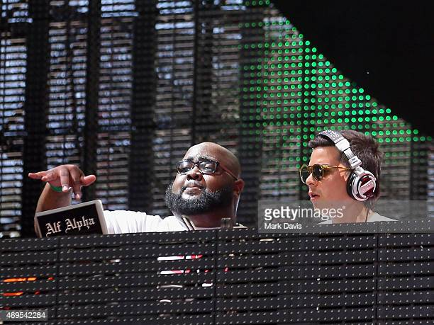 DJs Big Cali and Alf Alpha perform onstage during day 3 of the 2015 Coachella Valley Music Arts Festival at the Empire Polo Club on April 12 2015 in...
