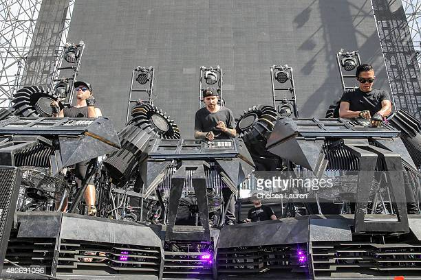 DJs Boreta Ooah and edIT of The Glitch Mob perform during the HARD Summer Music Festival at Fairplex on August 1 2015 in Pomona California