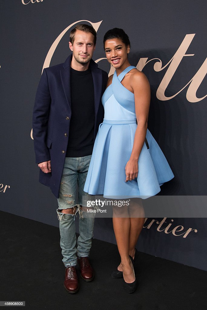 DJs Brendan Fallis (L) and Hannah Bronfman attend The Maison Cartier Celebrates 100th Anniversary Of Their Emblem La Panthere De Cartier! at Skylight Clarkson Sq on November 12, 2014 in New York City.