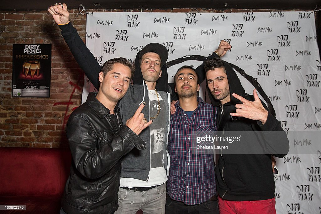 DJs Charly, Pitchin, Pho and Thomas attend the Dirtyphonics private press meet & greet and listening of new album 'Irreverence' at Dim Mak Studios on April 16, 2013 in Hollywood, California.