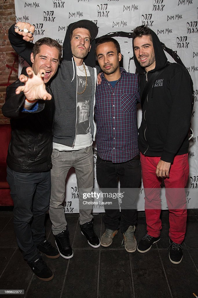 DJs Charly, Pitchin, Pho and Thomas of Dirtyphonics attend the Dirtyphonics private press meet & greet and listening of new album 'Irreverence' at Dim Mak Studios on April 16, 2013 in Hollywood, California.