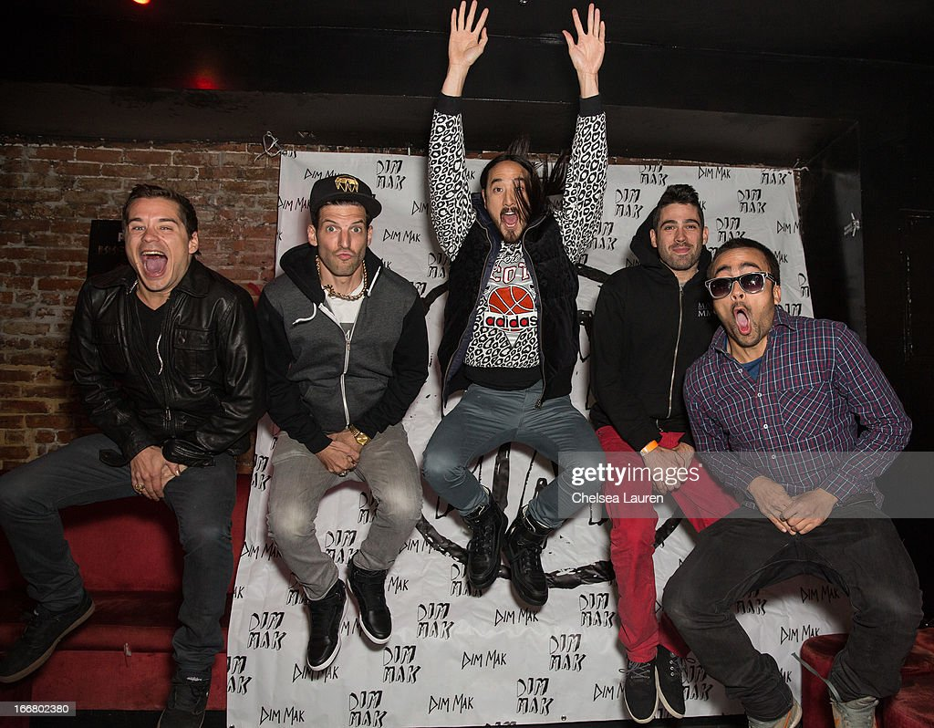 DJs Charly, Pitchin, Steve Aoki, Thomas and Pho attend the Dirtyphonics private press meet & greet and listening of new album 'Irreverence' at Dim Mak Studios on April 16, 2013 in Hollywood, California.
