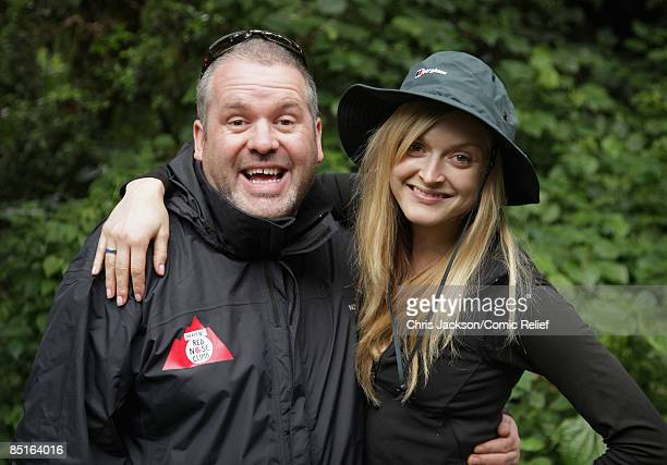 DJs Chris Moyles and presenter Fearne Cotton pose for a photograph on the first day of The BT Red Nose Climb of Kilimanjaro on March 1 2009 in Arusha...