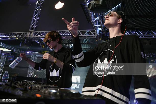 DJs Freddy Kennett and Robby Hauldren of Louis The Child perform onstage during day 1 of the 2016 Coachella Valley Music Arts Festival Weekend 2 at...