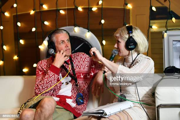 DJs Gene 'Bean' Baxter and Kat Corbett backstage during KROQ Almost Acoustic Christmas 2017 at The Forum on December 10, 2017 in Inglewood,...