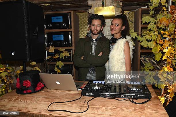 DJs Isaac Hindin Miller and Jenny Albright perform as Teen Vogue and Aerie celebrate Emma Roberts November Cover at 58 Gansevoort on October 24 2015...