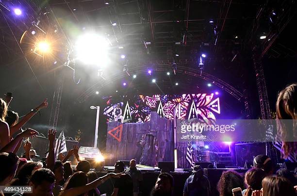 DJs J2K and Autobot of Flosstradamus perform onstage during day 2 of the 2015 Coachella Valley Music & Arts Festival at the Empire Polo Club on April...