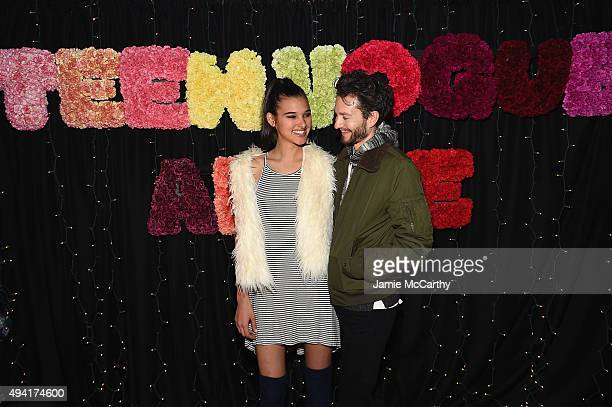 DJs Jenny Albright and Isaac Hindin Miller attend as Teen Vogue and Aerie celebrate Emma Roberts November Cover at 58 Gansevoort on October 24 2015...
