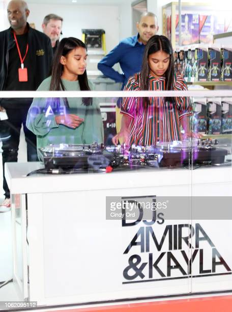 DJs Kayla and Amira peform as FAO Schwarz opens its flagship store at 30 Rockfeller Plaza on November 15 2018 in New York City