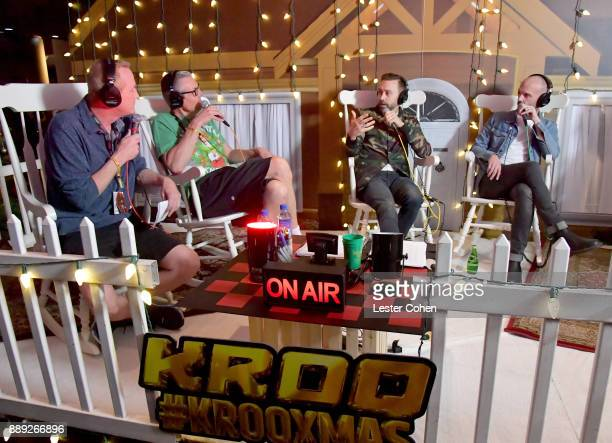 KROQ DJs Kevin Ryder Gene 'Bean' Baxter interview Tim McIlrath and Zach Blair of Rise Against at KROQ Almost Acoustic Christmas 2017 at The Forum on...