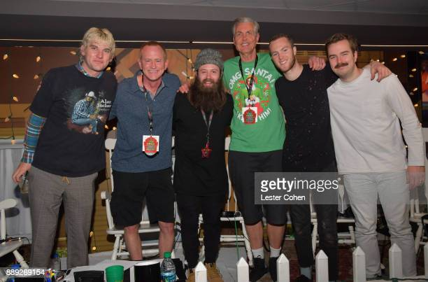 DJs Kevin Ryder Gene 'Bean' Baxter pose backstage with Judah The Lion during KROQ Almost Acoustic Christmas 2017 at The Forum on December 9 2017 in...