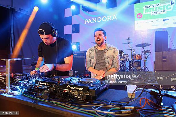 DJs Logan Light and Alex Seaver of Mako perform onstage during the PANDORA Discovery Den SXSW on March 16 2016 in Austin Texas