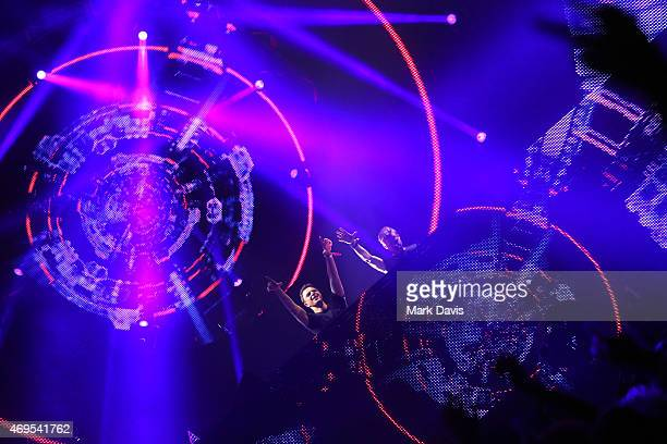 DJs Markus Schulz and Ferry Corsten of New World Punx perform onstage during day 3 of the 2015 Coachella Valley Music & Arts Festival at the Empire...