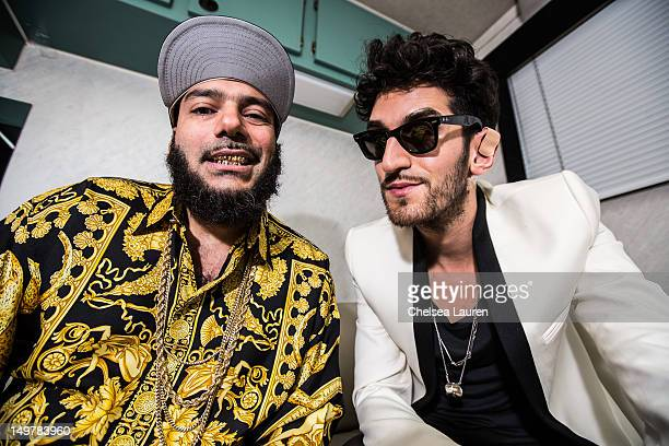 DJs PThugg and Dave 1 of Chromeo pose backstage at HARD Summer music festival at Los Angeles Historical Park on August 3 2012 in Los Angeles...