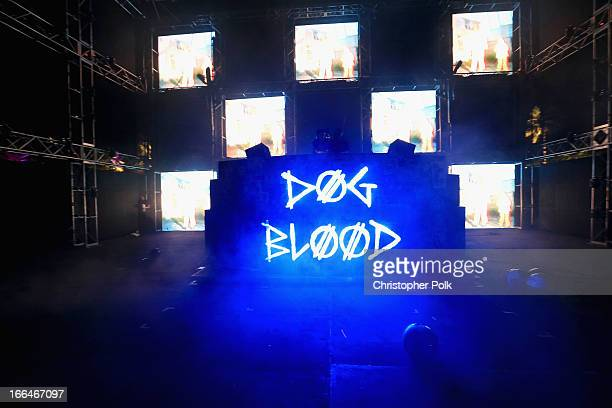 DJs Skrillex and Boys Noize of Dog Blood perform onstage during day 1 of the 2013 Coachella Valley Music Arts Festival at the Empire Polo Club on...