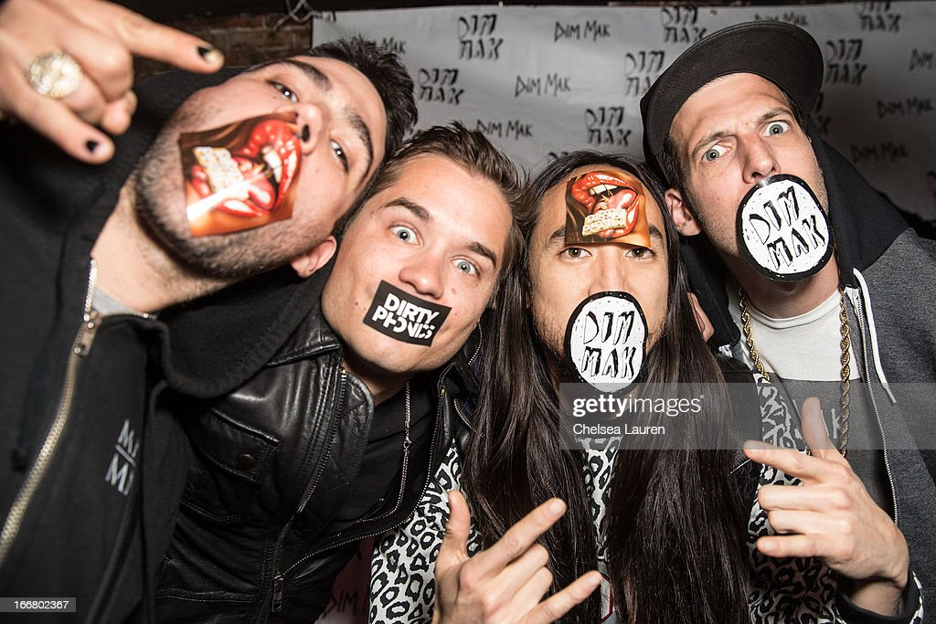DJs Thomas, Charly, Steve Aoki and Pitchin attend the Dirtyphonics private press meet & greet and listening of new album 'Irreverence' at Dim Mak Studios on April 16, 2013 in Hollywood, California.