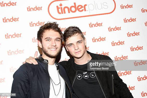 DJs Zedd and Martin Garrix attend the Tinder Plus Launch Party featuring Jason Derulo and ZEDD at Hangar 8 Santa Monica at Barker Hangar on June 17...