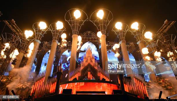 DJs/producers Sebastian Ingrosso and Axwell perform as Axwell / Ingrosso on the kineticFIELD stage during the 18th annual Electric Daisy Carnival at...