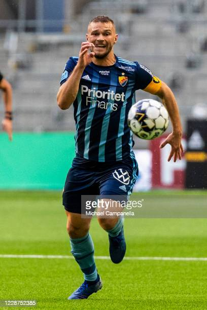 Djurgarden captain Jesper Karlstrom runs after the ball during the Allsvenskan match between Djurgardens IF and IFK Norrkoping at Tele2 Arena on...