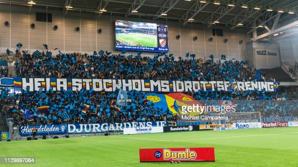 Djurgarden supporters choreography during a quarter-final match in the Swedish Cup between Djurgardens IF and Hammarby IF at Tele2 Arena on March 10,...