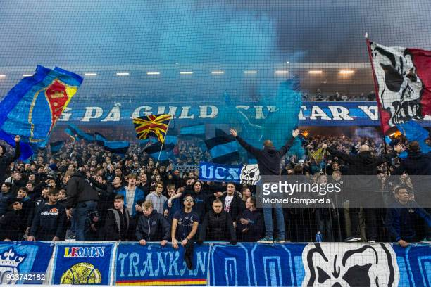 Djurgarden supporters during a semi-final match of the Swedish Cup between AIK and Djurgardens IF at Friends arena on March 18, 2018 in Solna, Sweden.