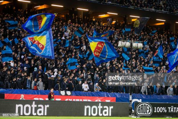 Djurgarden supporters waving flags during a semi-final match of the Swedish Cup between AIK and Djurgardens IF at Friends arena on March 18, 2018 in...