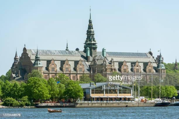 djurgarden with junibacken and nordic museum in the background - djurgarden stock pictures, royalty-free photos & images