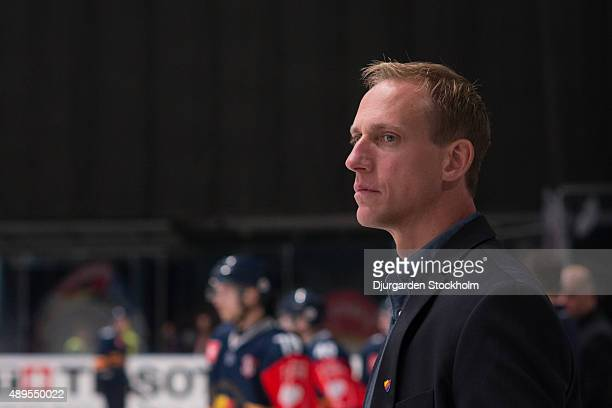 Djurgardens Assistant Coach Mikael Hakansson during the Champions Hockey League round of thirty-two game between Djurgarden Stockholm and Vaxjo...