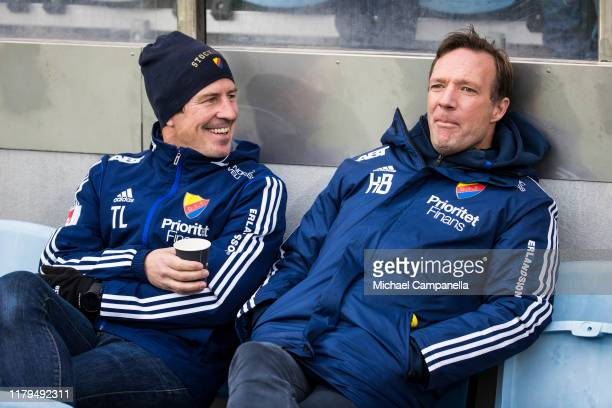 Djurgardens IF coaches Thomas Lagerlof and Kim Bergstrand look on during an Allsvenskan match between IFK Norrkoping and Djurgardens IF at Nya Parken...
