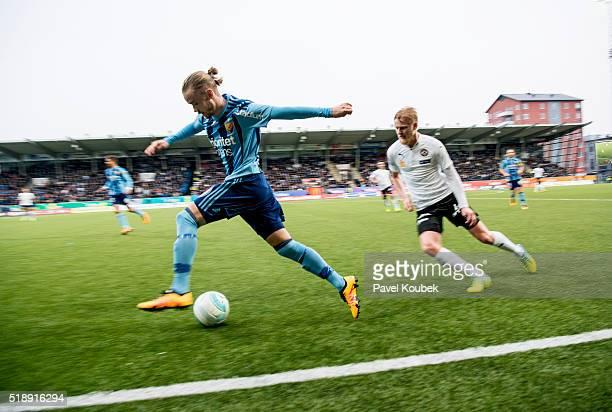 Djurgrdens Daniel Berntsen during the Allsvenskan match between Orebro SK and Djurgardens IF at Behrn Arena on April 3 2016 in Orebro Sweden