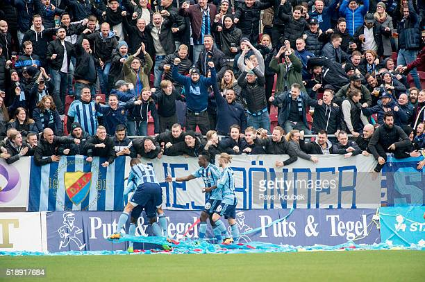 Djurgrdens IF players celebrates 02 during the Allsvenskan match between Orebro SK and Djurgardens IF at Behrn Arena on April 3 2016 in Orebro Sweden