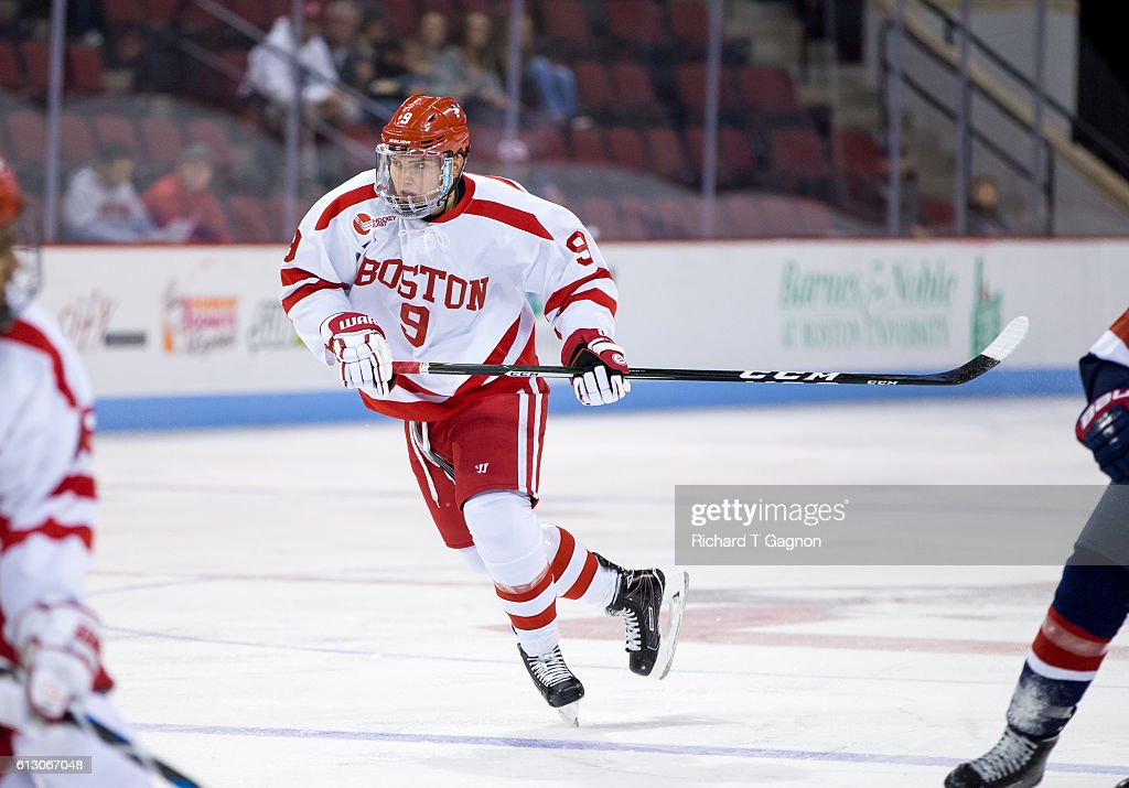 dKieffer Bellows #9 of the Boston University Terriers skates during NCAA exhibition hockey against the U.S. National Under-18 Team at Agganis Arena on October 6, 2016 in Boston, Massachusetts. The Terriers won 8-2.