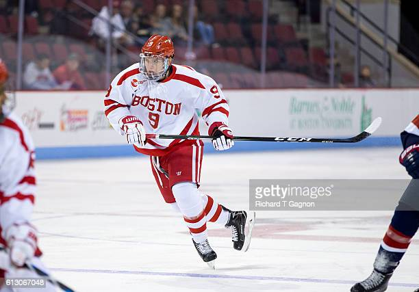 dKieffer Bellows of the Boston University Terriers skates during NCAA exhibition hockey against the US National Under18 Team at Agganis Arena on...