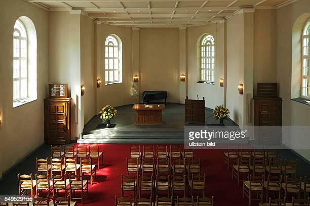 DKrefeld Rhine Lower Rhine Rhineland North RhineWestphalia NRW Mennonites church evangelic church interior view altar choir apse