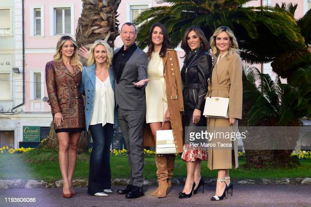 Dletta Leotta Antonella Clerici Amadeus Francesca Sofia Novelllo Emma D'Aquino and Laura Chimenti attend the 70 Sanremo Music Festival Press...