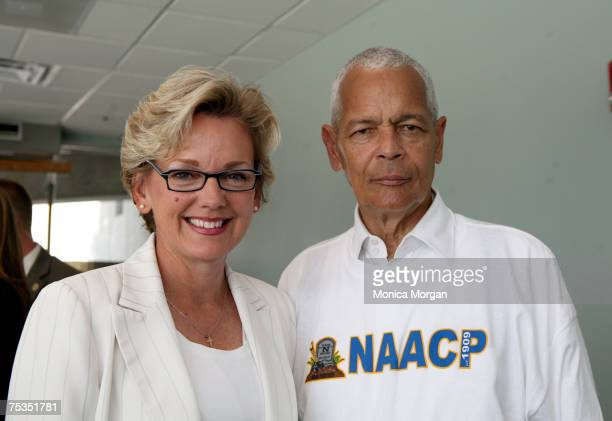 """Michigan Governor Jennifer Granholm,and Julian Bond, Chairman NAACP National Board of Directors attending NAACP mock funeral for the """"N"""" word, at the..."""