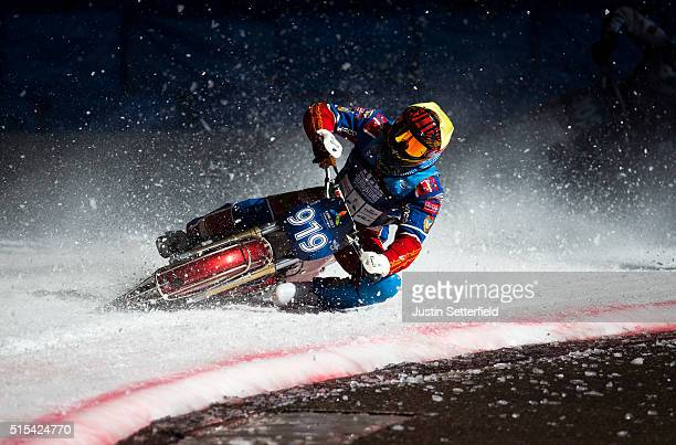 Dmirti Khomitsevitsj in action during Ice Speedway World Championship Final on March 13 2016 in Assen Netherlands