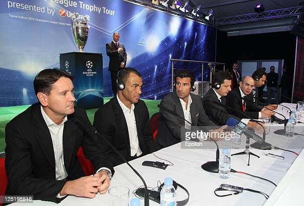 Dmitri Alenichev Cafu Luis Figo Gianni Franco Papa Michail Alexeev during a press conference during the UEFA Champions League Trophy Tour 2011 on...