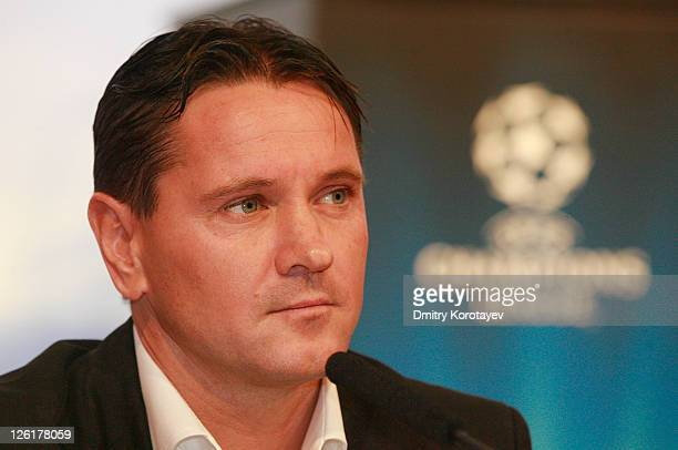 Dmitri Alenichev during a press conference during the UEFA Champions League Trophy Tour 2011 on September 23 2011 in Moscow Russia