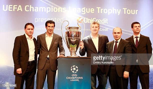 Dmitri Alenichev Luis Figo and Davor Suker Michail Alexeev and Thomas Giordano poses for photo during the UEFA Champions League Trophy Tour 2011 on...
