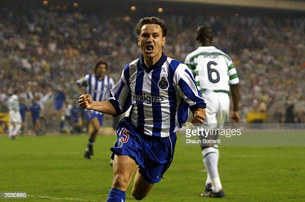 Dmitri Alenichev of FC Porto celebrates scoring the second goal during the UEFA Cup Final match between Celtic and FC Porto held on May 21, 2003 at...