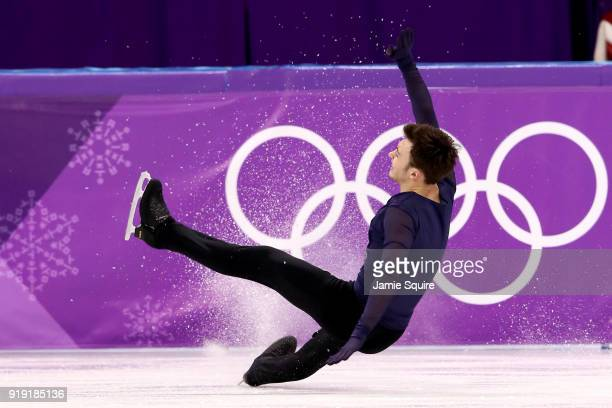 Dmitri Aliev of Olympic Athlete from Russia falls while competing during the Men's Single Free Program on day eight of the PyeongChang 2018 Winter...