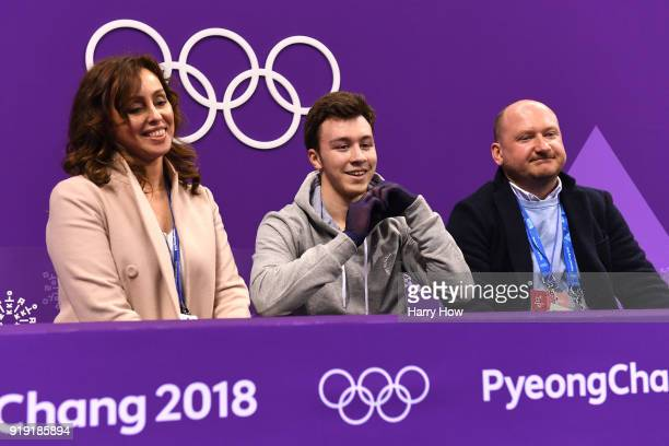 Dmitri Aliev of Olympic Athlete from Russia reacts after competing during the Men's Single Free Program on day eight of the PyeongChang 2018 Winter...