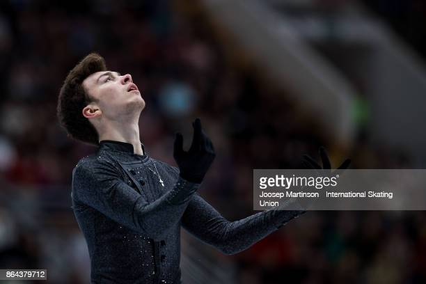 Dmitri Aliev of Russia competes in the Men's Free Skating during day two of the ISU Grand Prix of Figure Skating Rostelecom Cup at Ice Palace...