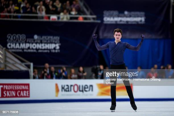 Dmitri Aliev of Russia competes in the Men's Free Skating during day three of the European Figure Skating Championships at Megasport Arena on January...