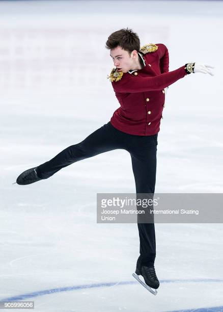 Dmitri Aliev of Russia competes in the Men's Short Program during day one of the European Figure Skating Championships at Megasport Arena on January...