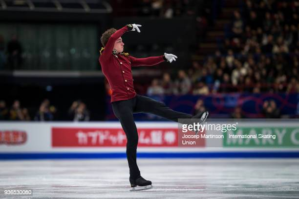 Dmitri Aliev of Russia competes in the Men's Short Program during day two of the World Figure Skating Championships at Mediolanum Forum on March 22...