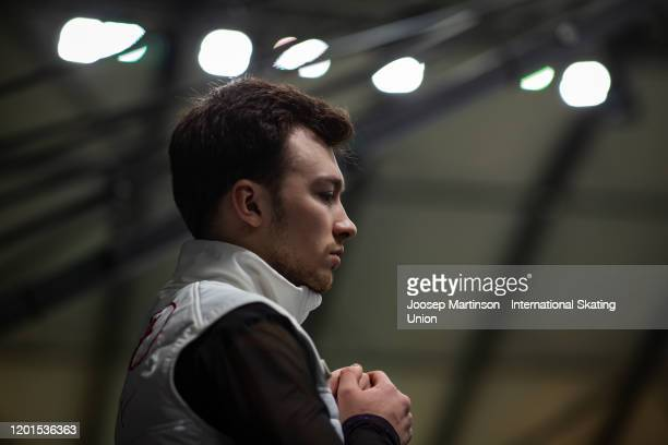 Dmitri Aliev of Russia prepares in the Men's Free Skating during day 2 of the ISU European Figure Skating Championships at Steiermarkhalle on January...