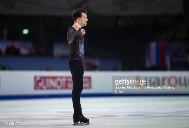 Dmitri Aliev of Russia reacts in the Men's Free Skating during day 2 of the ISU European Figure Skating Championships at Steiermarkhalle on January...